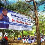Banner ucapan Selamat Datang untuk Bapak GenRe Indonesia